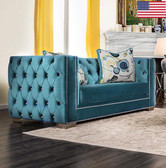 Furniture of America SM2282 LV Velvet Love Seat | SALVATORE Lapis Blue Tufted Love Seat