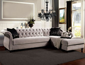 Furniture Of America SM2261 Velvet Fabric Sectional | ROTTERDAM Warm Gray Velvet Sectional with Chaise