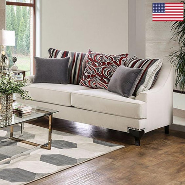 Furniture of America Viscontti SM2206 Velvet Love Seat in Ivory
