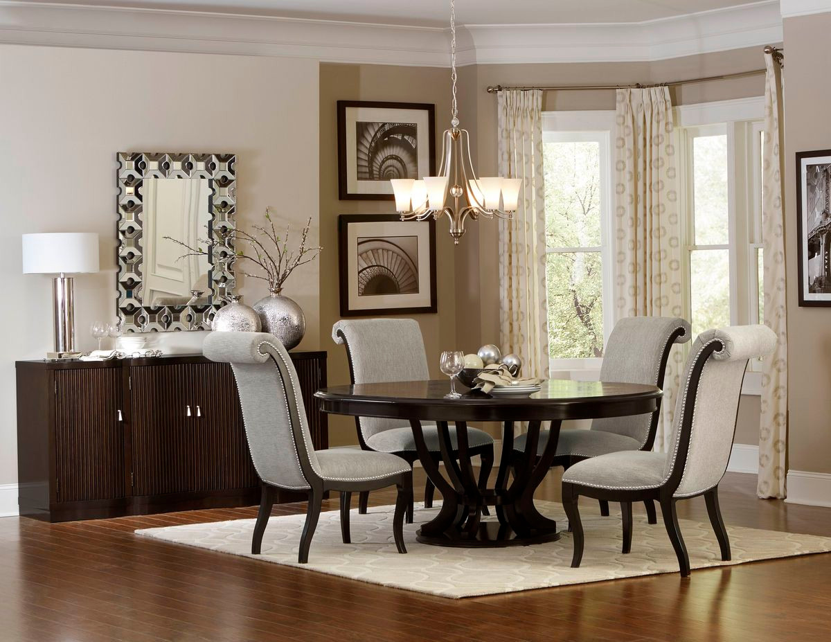 ... SAVION 5494 76 Round Oval Dining Table With Chairs + Optional Server