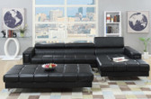 Poundex F7363 2-PCS Bonded Leather Sectional Sofa Set in Black
