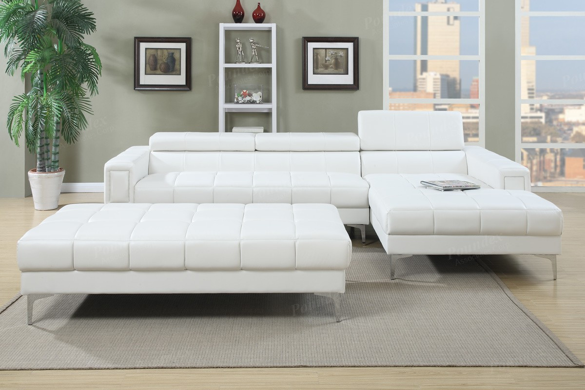 Exceptionnel ... WHITE Bonded Leather Sectional