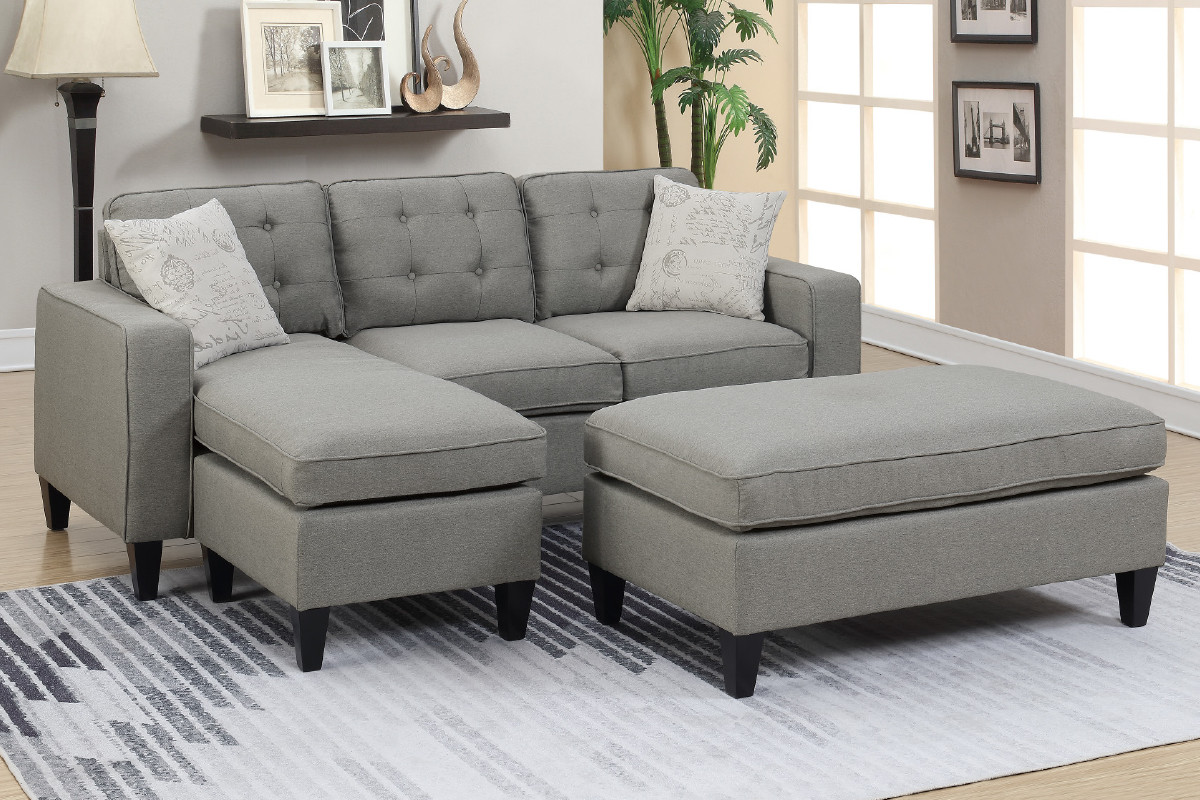 Outstanding F6575 Reversible Sectional W Ottoman And Pillows Caraccident5 Cool Chair Designs And Ideas Caraccident5Info