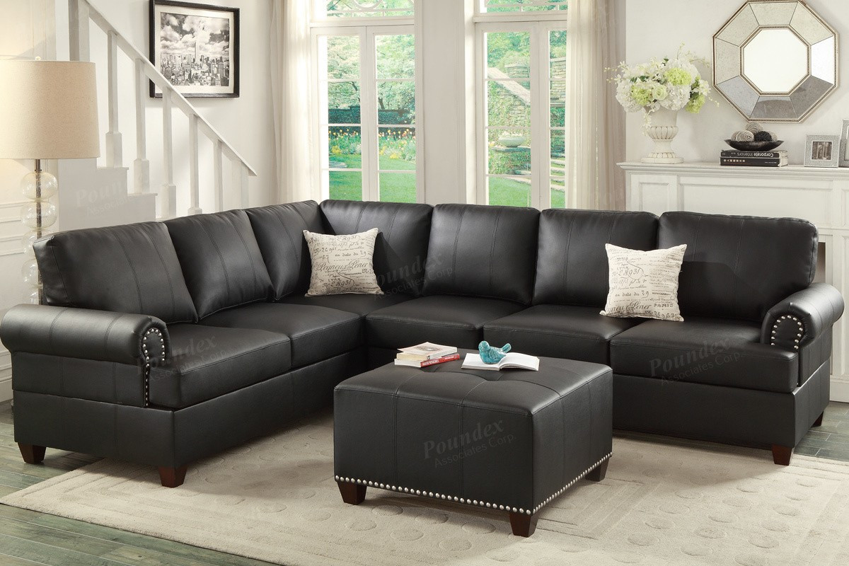 Poundex F7769 2-PCS Bonded Leather Sectional Sofa Set | Black Bonded Leather Sectional Sofa ... : bonded leather sectionals - Sectionals, Sofas & Couches