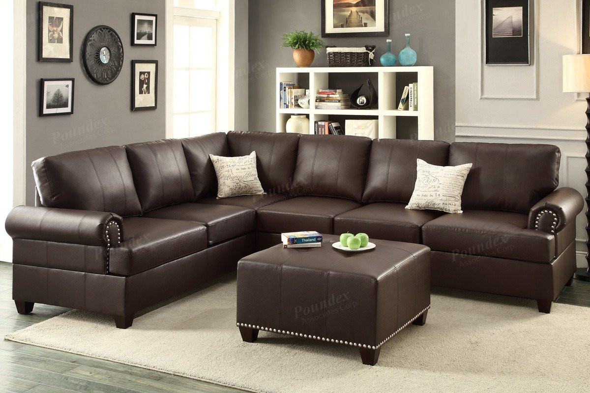 espresso bonded leather sectional sofa. poundex f pcs bonded leather sectional sofa set