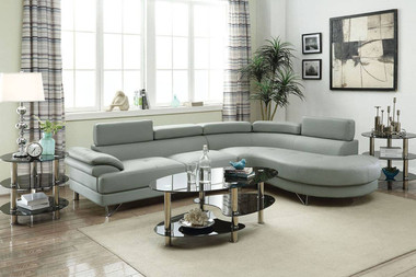 2-Pcs Sectional Sofa in Light Gray
