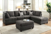 Poundex F6988 Fabric Sectional Sofa with Reversible Chaise | Ash Black Dorris Fabric Sectional Sofa Set