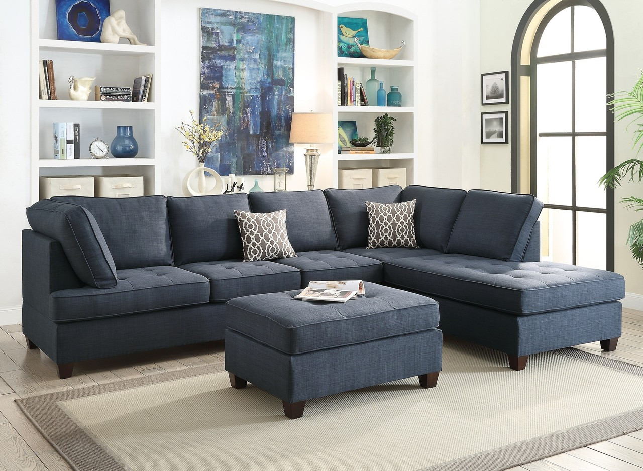 Poundex F6988 Fabric Sectional Sofa With Reversible Chaise