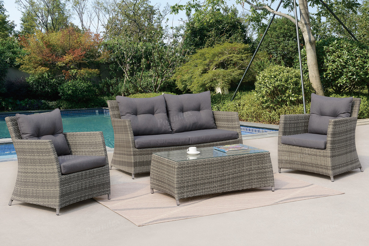 Poundex P50291 Outdoor Patio 4 PCS Conversation Set | Outdoor Wicker Sofa  Set