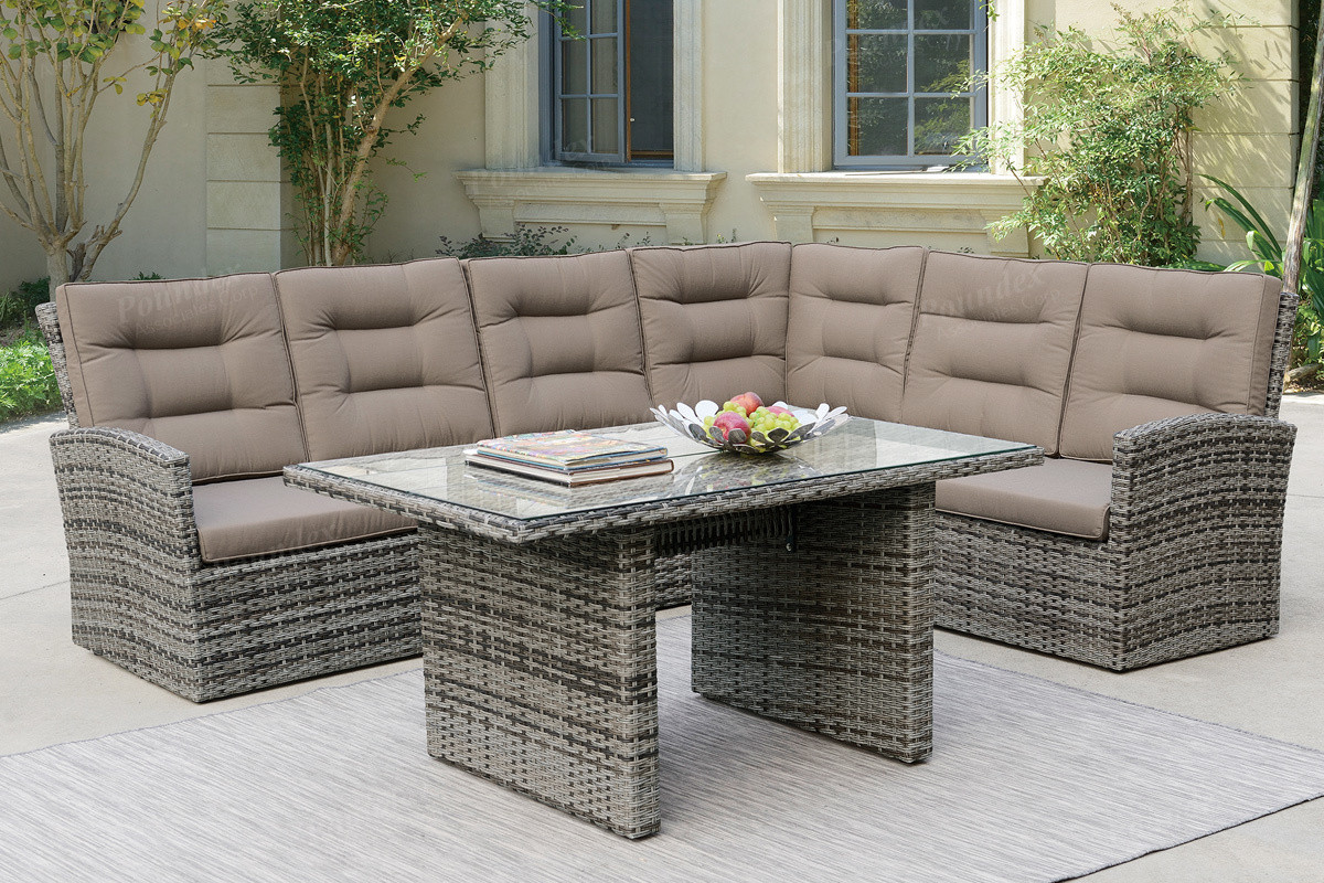 Poundex P50293 Outdoor Patio 5 PCS Sectional Conversation Set | Outdoor  Sectional Sofa Set With