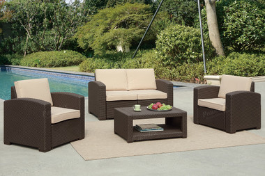 Poundex Lizkona 434 4-PCS Outdoor Patio Sofa Set | LIZKONA Wicker Outdoor Patio Set