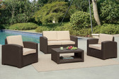 Poundex Lizkona 434 4-PCS Outdoor Patio Sofa Set | LIZKONA Wicker Outdoor Patio Set