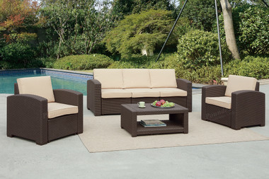 Poundex Lizkona 435 4-PCS Outdoor Patio Sofa Set | LIZKONA Outdoor Living Set in Tan and Brown