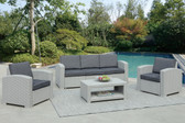 Poundex Lizkona 437 4-PCS Outdoor Living Set | LIZKONA Outdoor Patio Set in Blue Gray
