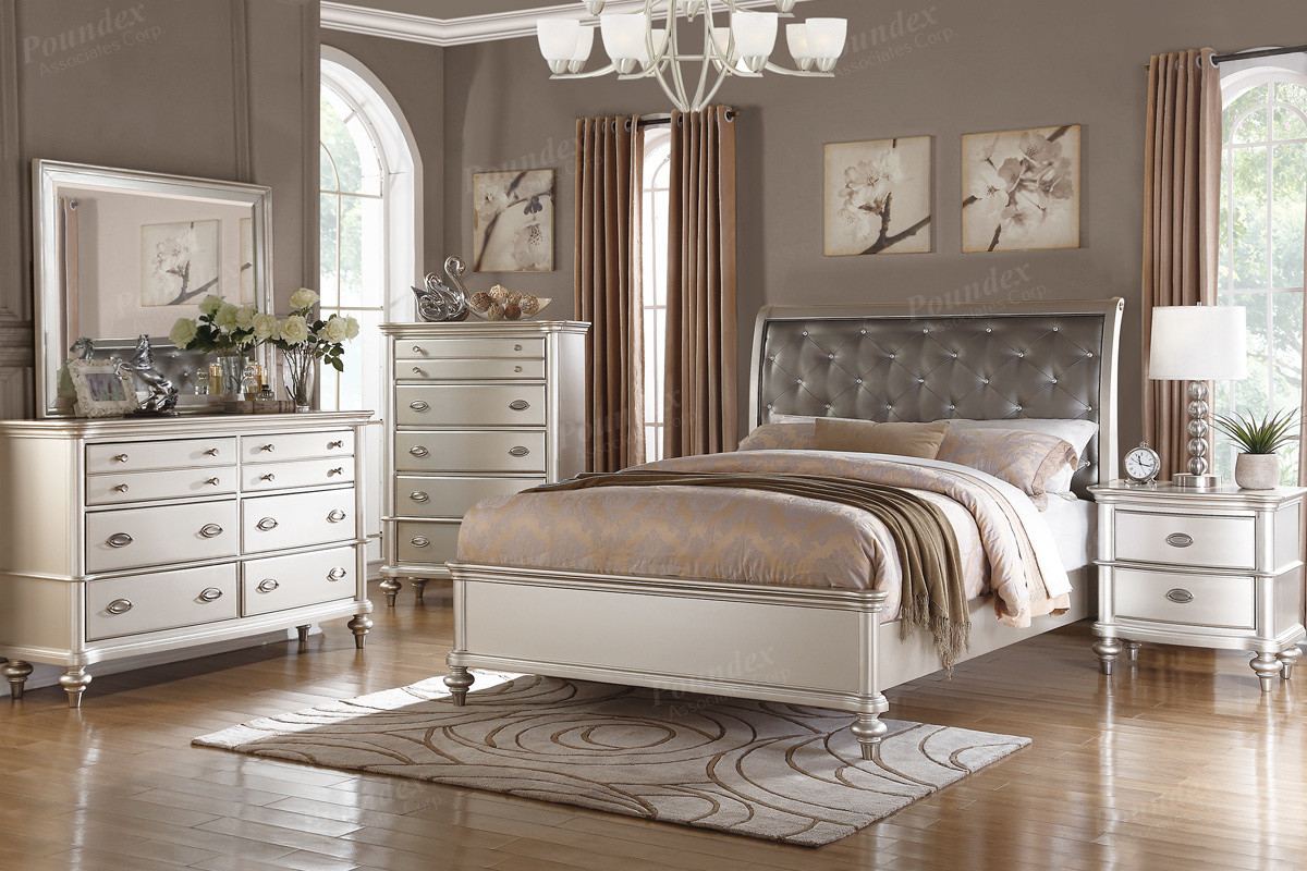 Poundex F9317 Platinum Silver Bed