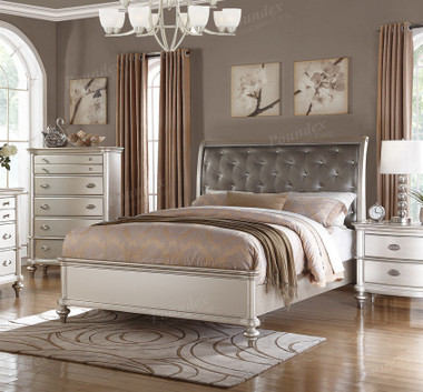 Poundex F9317 Platinum Silver Bed   PXF9317 Platinum Silver Bed with Textured Leather-Like Headboard