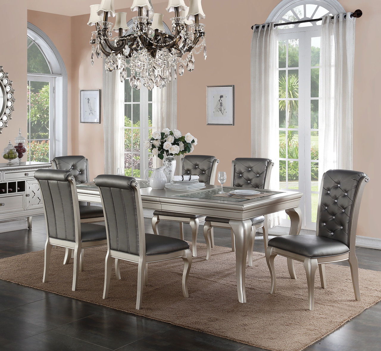Poundex F2151 Metallic Silver Dining Set