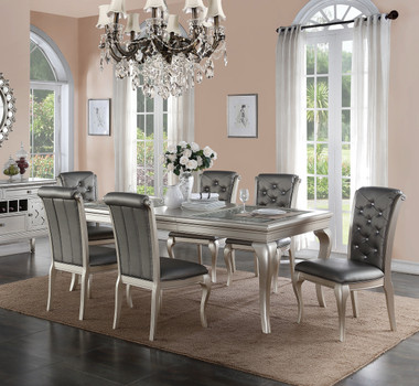 Poundex F2151 Metallic Silver Dining Table with Glass Inserts and Faux Leather Chairs