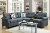Poundex F6594 Modular Sectional w/USB Console in Blue Grey