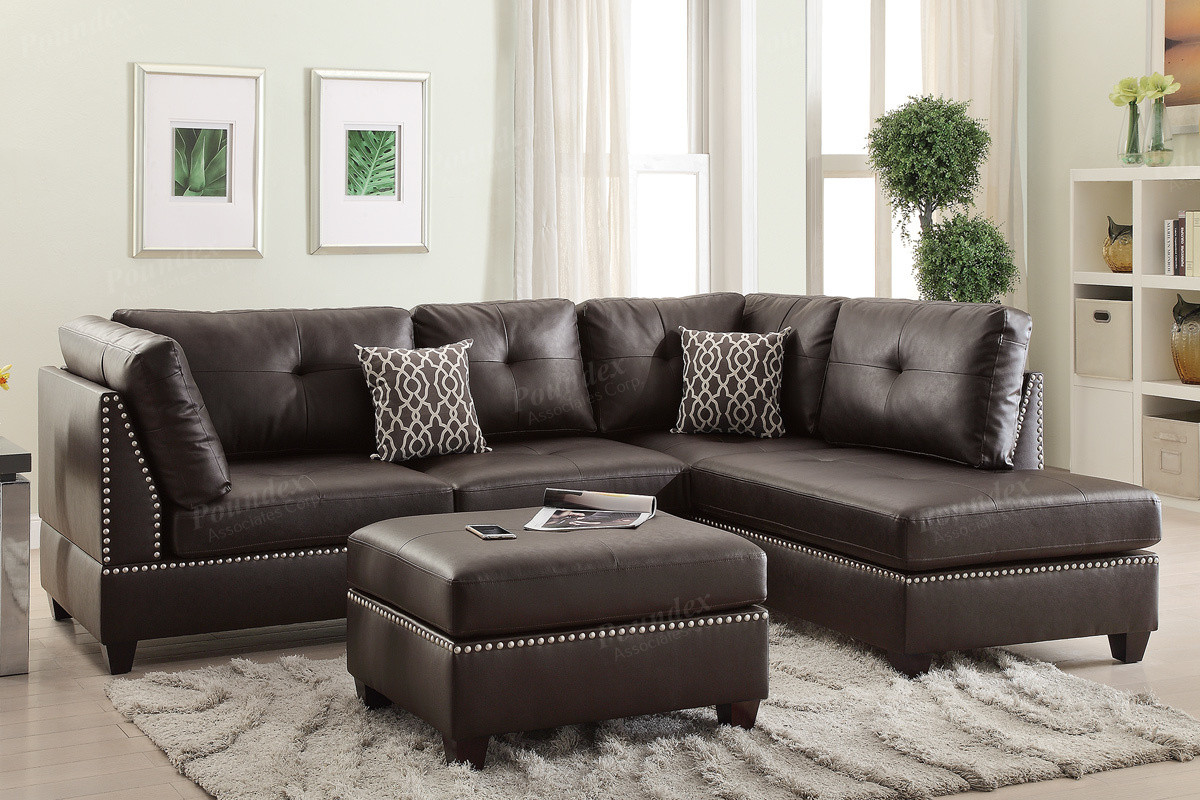 Delicieux Poundex F6973 3 PCS Reversible Chaise Sectional Set In Espresso ...