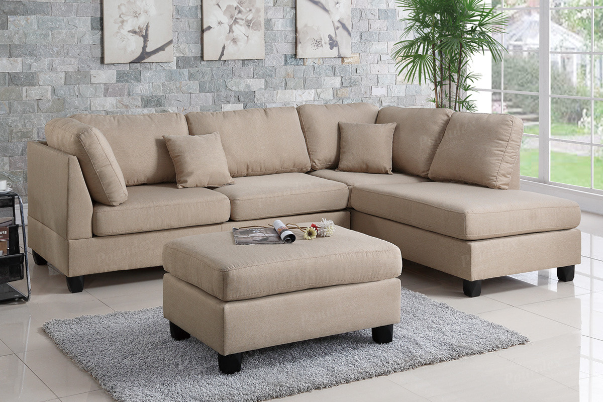 Poundex F7605 3 PCS Reversible Chaise Sectional In Sand ...