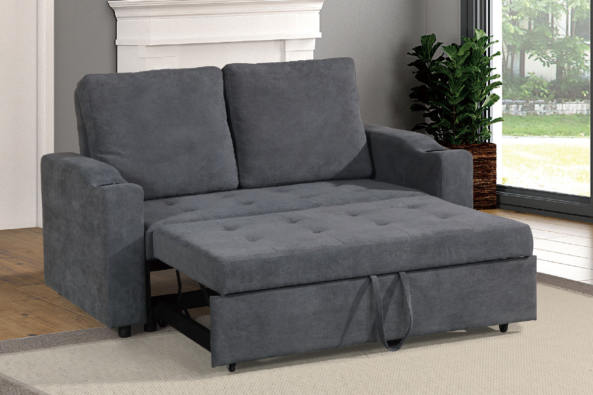 Shop the F6578 Convertible Sofa w/ Pull-out Bed in Gray and Charcoal