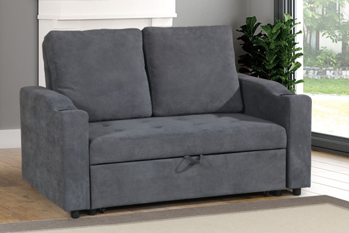Picture of: Shop The F6578 Convertible Sofa W Pull Out Bed In Gray And Charcoal