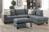 Morgan Bay F6542 3-PCS Reversible Chaise Sectional with Ottoman in Steel Color