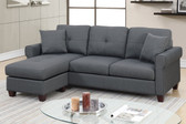 F6571 Reversible Chaise Sectional with 2 Pillows in Charcoal