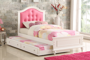 Poundex F9377 Twin Frame with Trundle | White with Pink Headboard