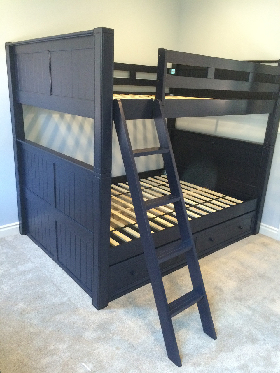 Genial ... Queen Bunk Bed; Dark Pecan; Espresso; Navy Blue ...