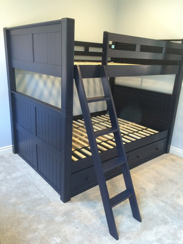 Foster Navy Blue Wood Dillon Queen over Queen Bunk Bed