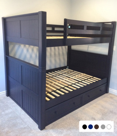 Foster Navy Blue Wood Queen over Queen Bunk Bed
