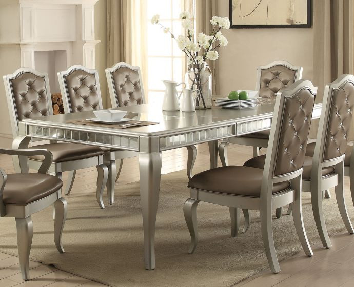 ACME 62080 Champagne Dining Room Table with 6 Chairs