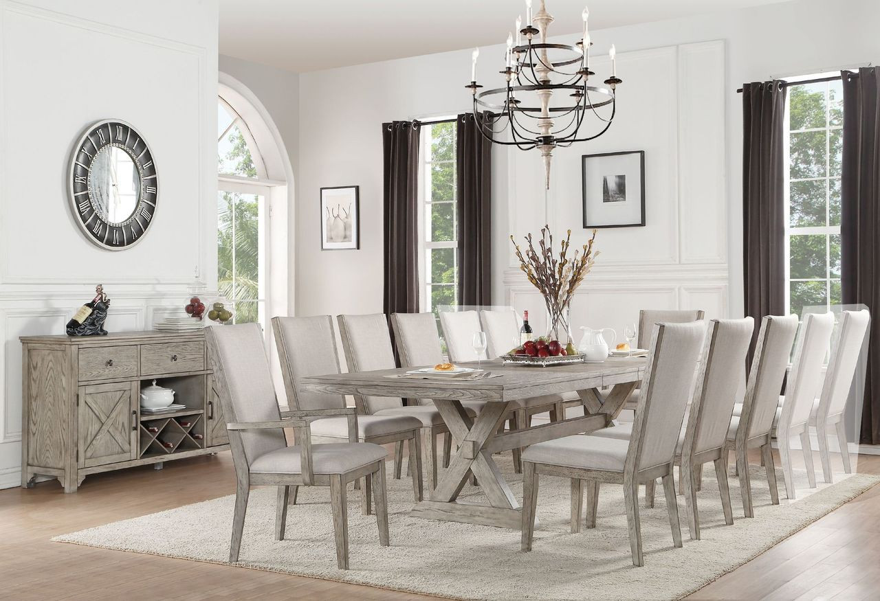 Picture of: Acme 72860 Gray Oak Dining Table With 8 Chairs