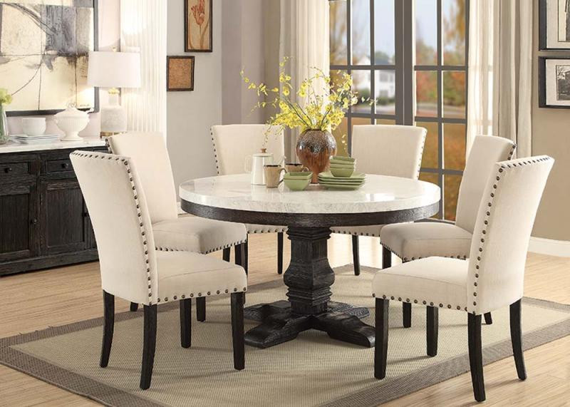 Attrayant ACME 72845 White Marble Salvaged Dark Oak Table Set | Round Pedestal Table  With Chairs ...