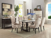 ACME 60820 White Marble Espresso Rectangular Dining Set