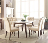 ACME 72820 White Marble Top Walnut Dining Set