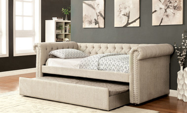 Leanna bed with Pull Out Trundle in Beige