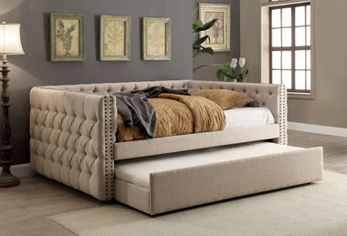 Suzanne Tuxedo Inspired Ivory Fabric bed | Shown with Optional Trundle