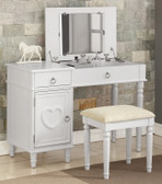Kiera Makeup Vanity Table With Mirror in White