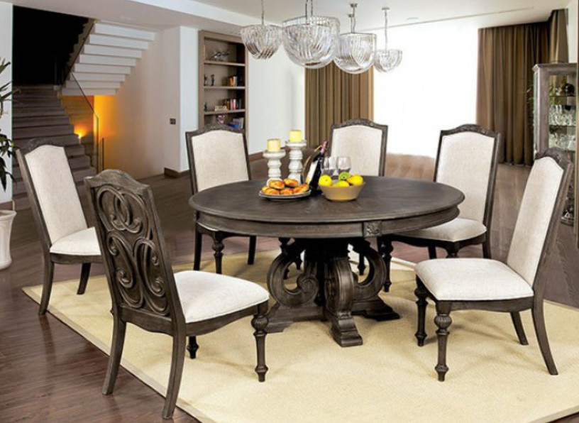 Furniture Of America Cm3150rt Arcadia 60 Round Dining Table Set