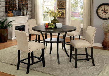 Furniture of America CM3323RPT Kaitlin Round Counter Height Table with Chairs