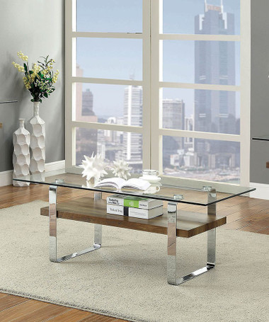 Elspeth CM4157 Glass Top Chrome Finish Occasional Table
