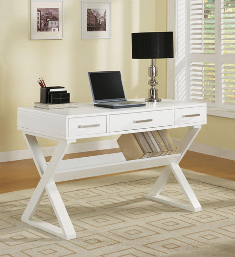 48 Joy White Wood Writing Desk | Home Office Furniture