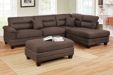 3-PCS Sectional F6586 with Reversible L/R Chaise and Ottoman in Black Coffee