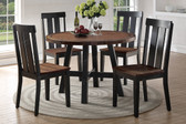 Poundex F2322 5 PC Two-tone Round Table with Four Chairs