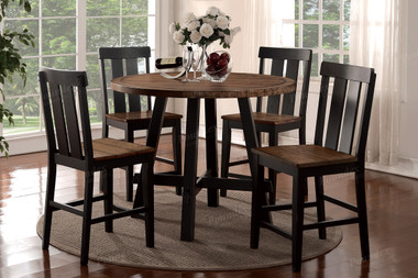 Poundex F2324 5 PC Two-tone Counter Table w/ Chairs