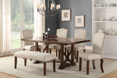 F2398 6 PCS Trestle Dining Table w/ Four Chairs and Bench