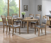 F2441 7 PCS Butterfly Leaf Table w/ 6 Gray Leatherette Chairs